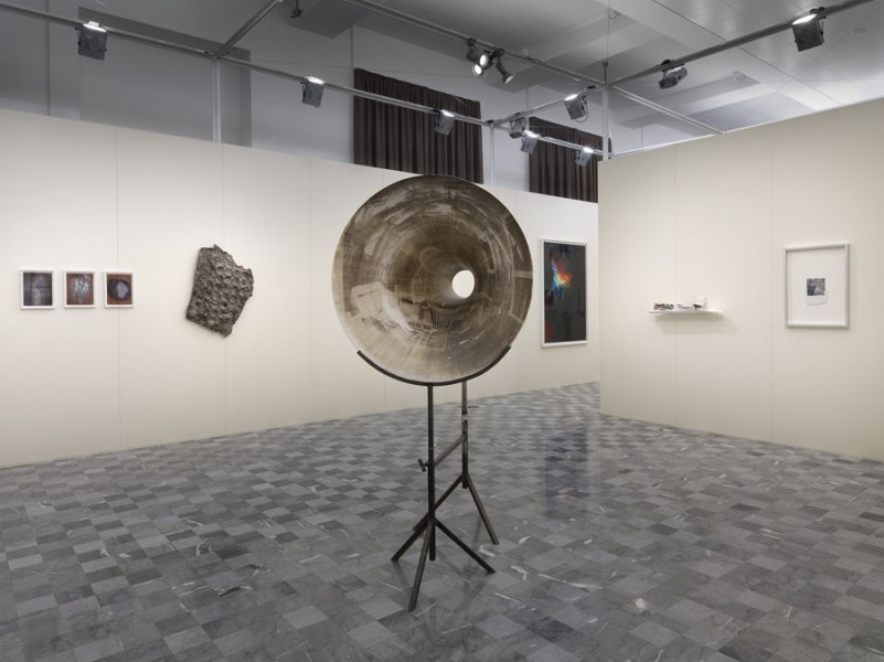 Elia Cantori Untitled (Black Hole) 2012, photographic emulsion, resin and iron, cm 200 x 106 x 80 (Private collection). Installation view at Palazzo De' Toschi Bologna, The Camera's Blind Spot III. Ph D. Lasagni, Courtesy the artist and Banca di Bologna