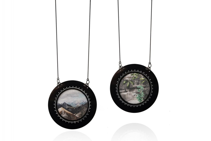 ESH Gallery-Chiara Scarpitti-Anthropocene pendants-silver-silk-plexiglass