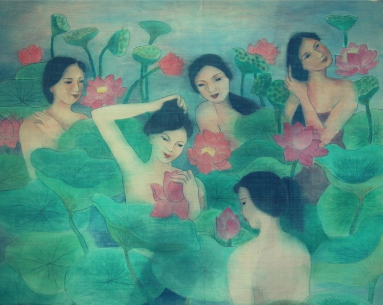Pham Kim Hoa - Ladies and lotus lake - 50x105 cm - Silk Painting