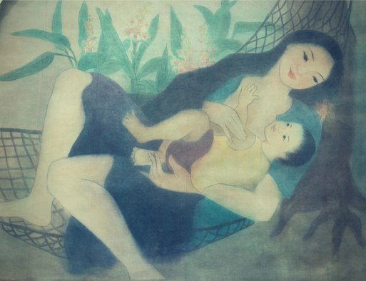 Pham Kim Hoa - Mother and son - 85x115 cm - Silk Painting