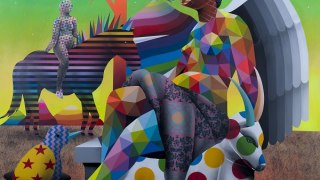 MAGMA gallery, Okuda, The misterius knight of God's garden, 200x200 cm