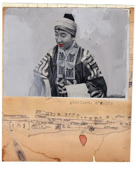 Massimo Nota Ghirlande d'oppio - mixed media collage on paper – 13.5×16 cm. 2014